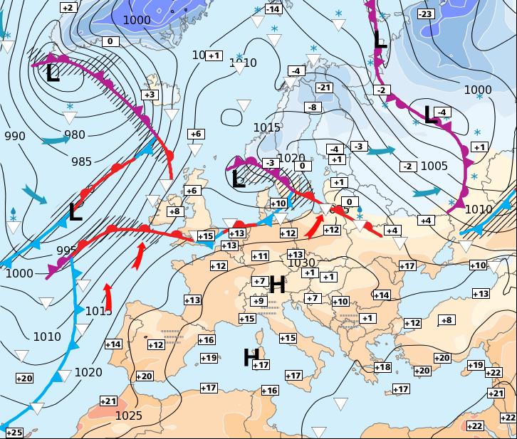 Carte De Leurope Meteo.Le Froid Revient Sur Le Nord Et L Est De L Europe 27 Decembre 2015