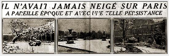 La neige de début novembre 1919 à Paris