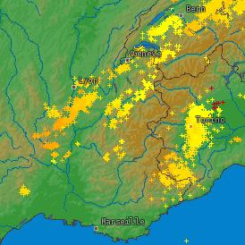 Orages pluvieux en Ardèche (Rhône-Alpes)