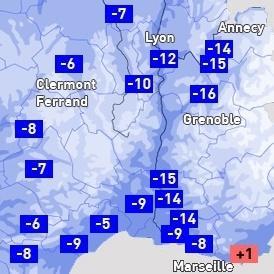 Chute remarquable des températures sur l'Est de la France