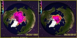 Fonte record des glaces de l'Arctique (pôle Nord)