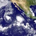 Effet fujiwara sur l'Est Pacifique & typhon Nesat sur Taïwan