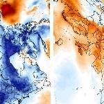 Neige & froid précoces en Amérique du Nord, tardifs en Europe