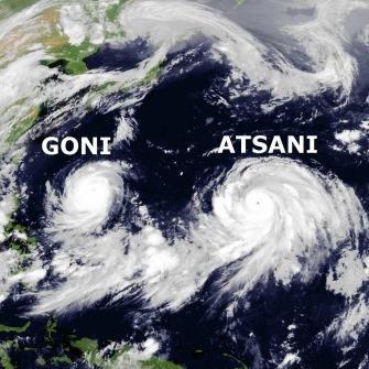Typhons Goni et Atsani sur le Pacifique