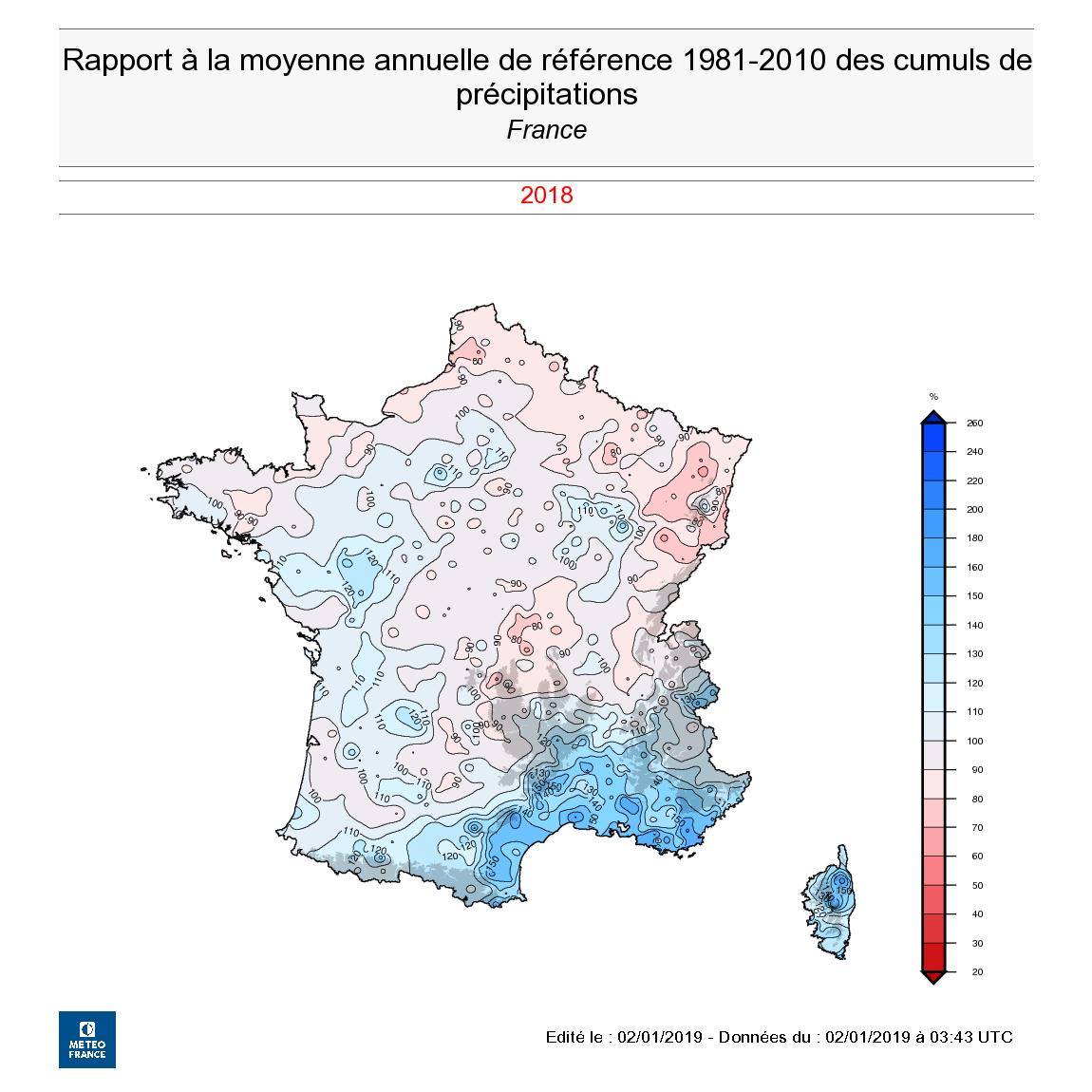 Carte Precipitation Alsace.Bilan National Detaille De L Annee 2018 En France 17