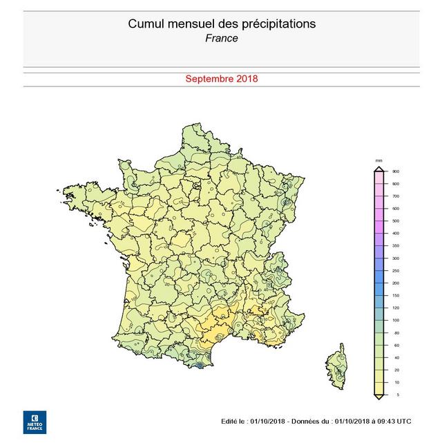 Image d'illustration pour Bilan de septembre 2018 : exceptionnellement sec et ensoleillé