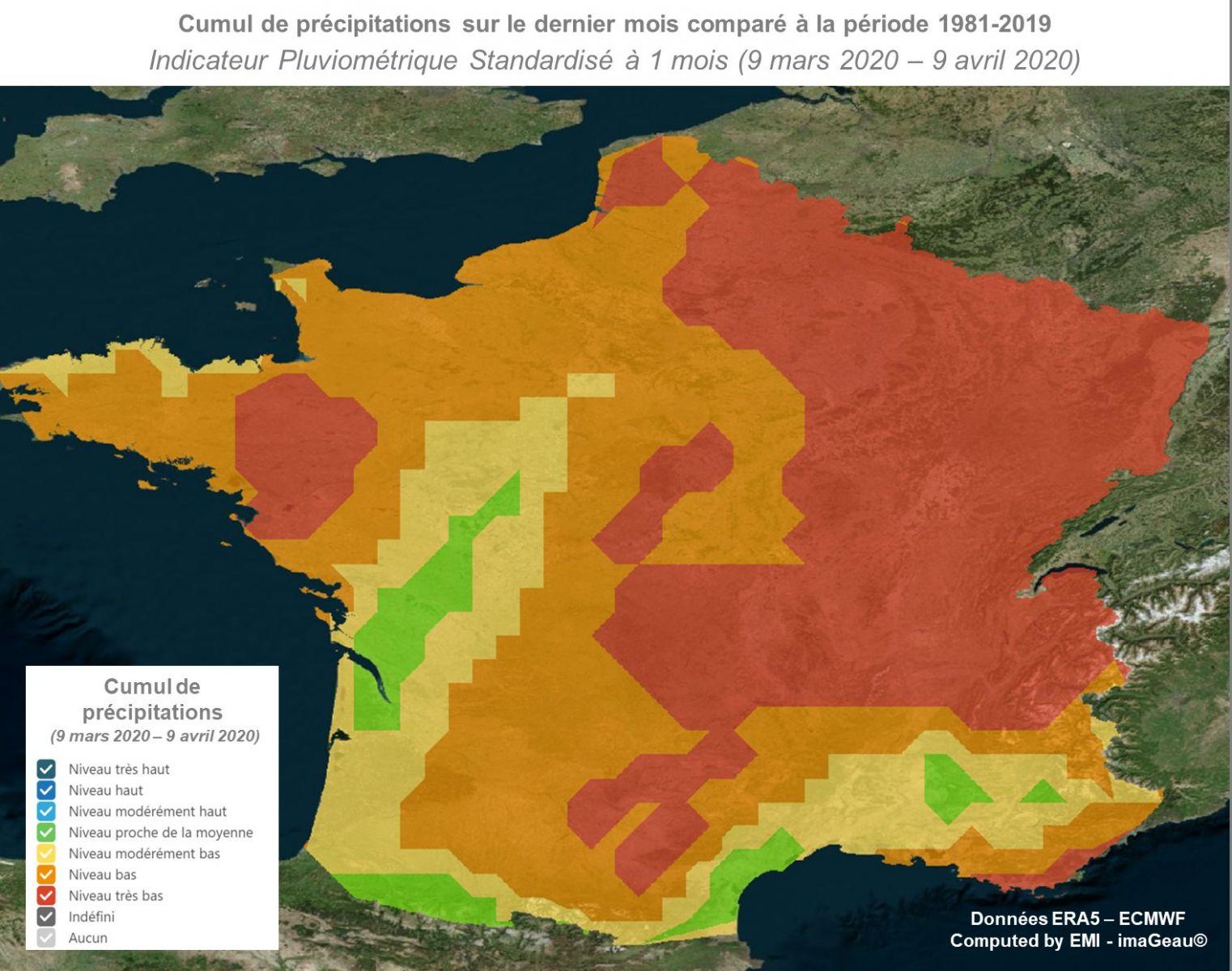 carte sécheresse france 2020 Le point sur la sécheresse en France en cette mi Avril   20 avril
