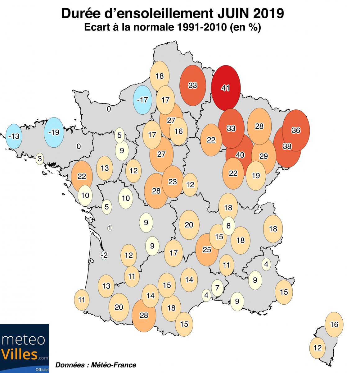 Image d'illustration pour Chaud et ensoleillé : le bilan cartographié de Juin 2019
