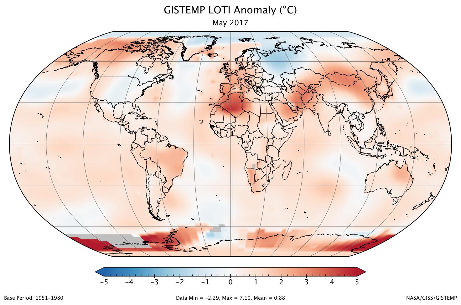 Image d'illustration pour Mai 2017 au 2e rang des plus chaud depuis 1880 selon la NASA