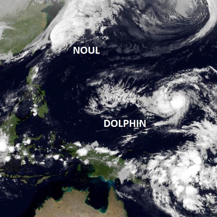 Image d'illustration pour Typhons sur le Pacifique : Noul et Dolphin