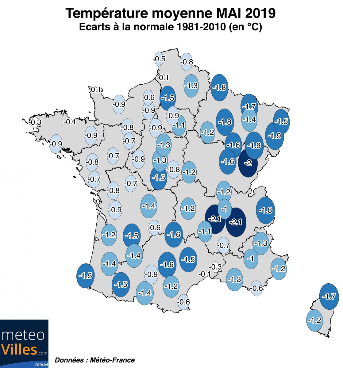 Image d'illustration pour Mai 2019 frais et peu humide : le bilan cartographié