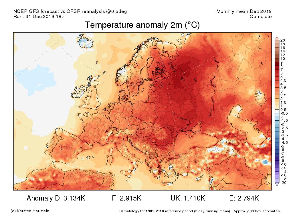 Image d'illustration pour Les anomalies douces dominent toute l'Europe depuis le début de l'hiver