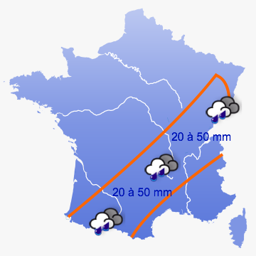 cumuls de pluie prévus pour dimanche 3 juin 2012