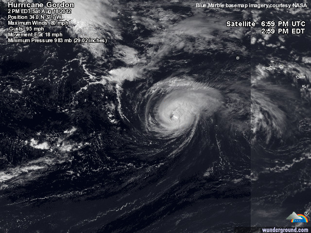 image satellite du cyclone Gordon