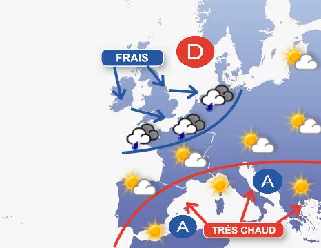 Image d'illustration pour Températures très contrastées en France dimanche après-midi