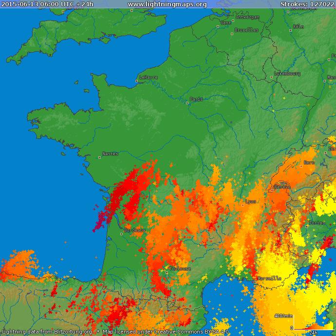 Image d'illustration pour Les orages restent forts au Sud de la Loire