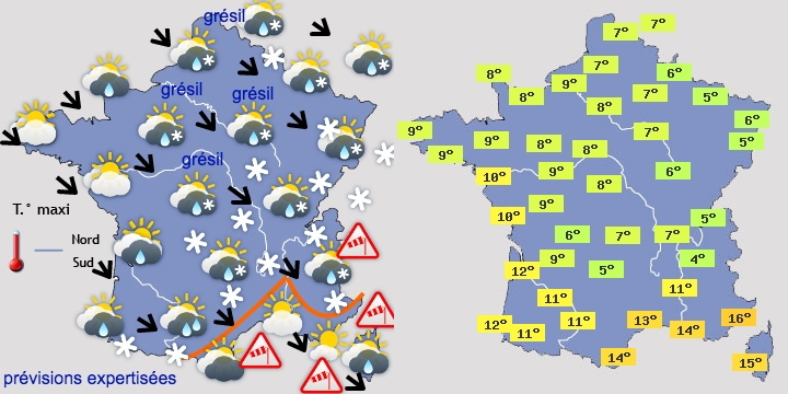 Image d'illustration pour Giboulées et risque de neige en plaine de mardi soir à jeudi