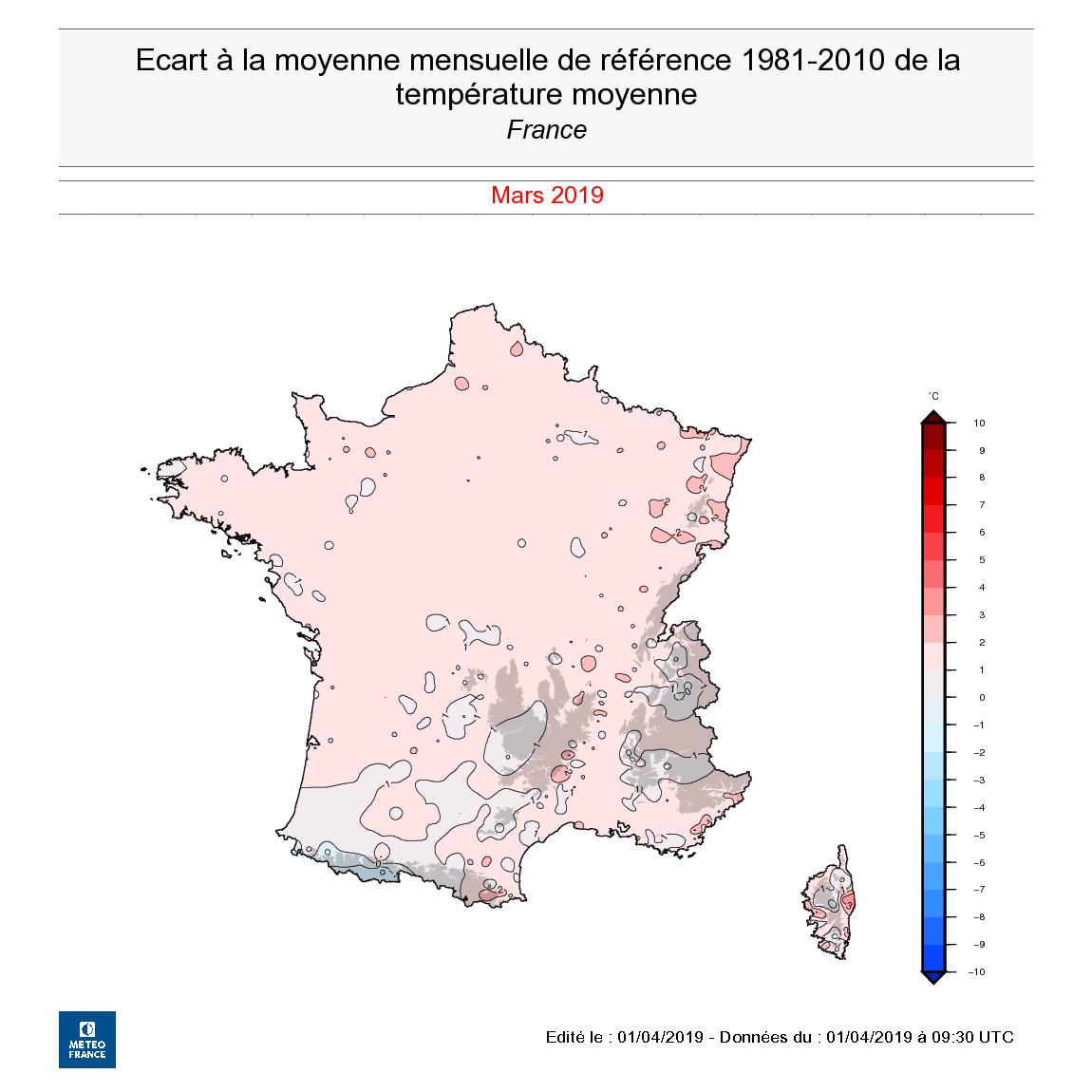 Image d'illustration pour Bilan météorologique national du mois de mars 2019
