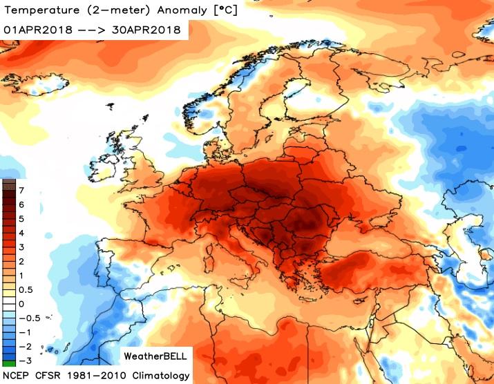 Image d'illustration pour Le mois d'avril le plus chaud des mesures en Europe