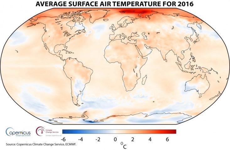 Image d'illustration pour 2016 année la plus douce dans le Monde selon Copernicus
