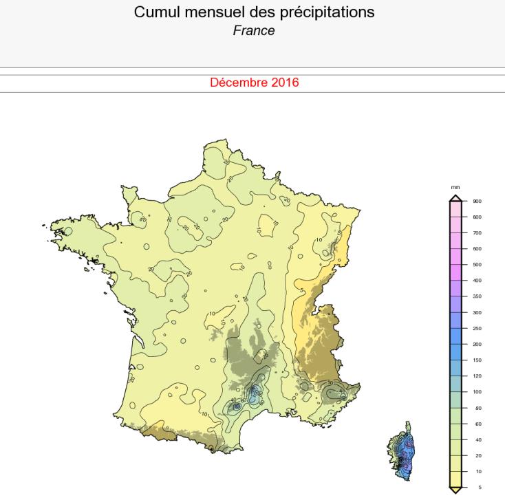 Image d'illustration pour Bilan météo cartographié de décembre 2016