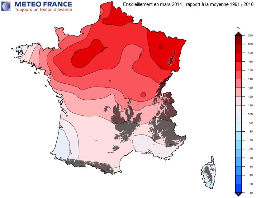 Image d'illustration pour Bilan de mars 2014 en cartes : doux, sec et ensoleillé