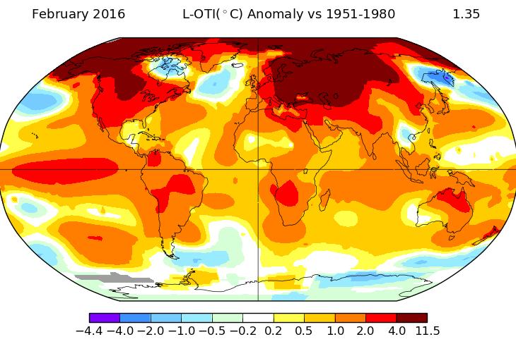 Image d'illustration pour Février 2016 établit un record de douceur dans le Monde selon la NASA