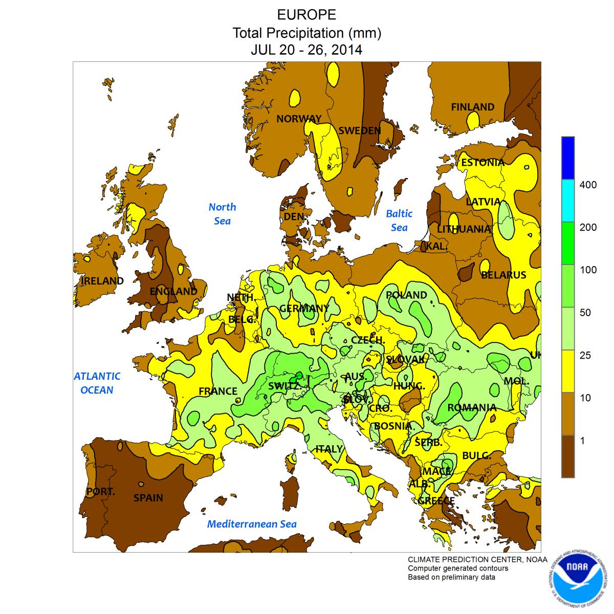 Image d'illustration pour Contrastes en Europe : chaud au Nord et à l'Est, frais et pluvieux au Sud