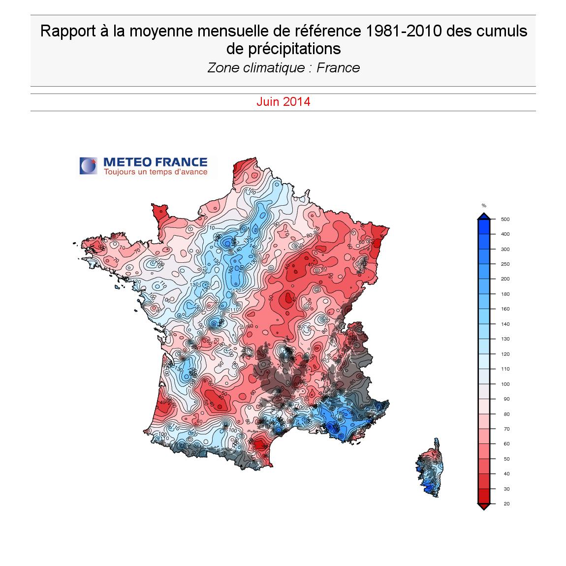 Image d'illustration pour Bilan cartographié de juin 2014 : chaud, orageux mais sec et bien ensoleillé