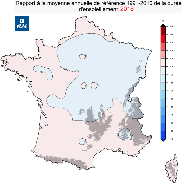 Image d'illustration pour Bilan météo cartographié de l'année 2016 en France