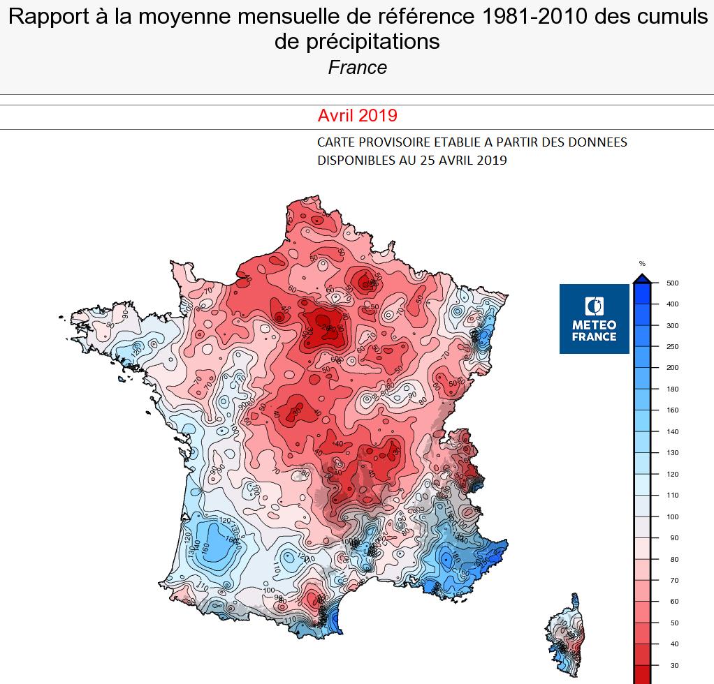 Image d'illustration pour Bilan météo détaillé d'avril 2019 sur 33 villes