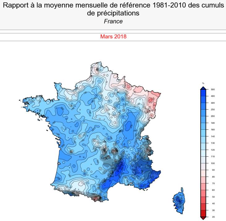 Image d'illustration pour Bilan cartographié d'un mois de mars agité et froid