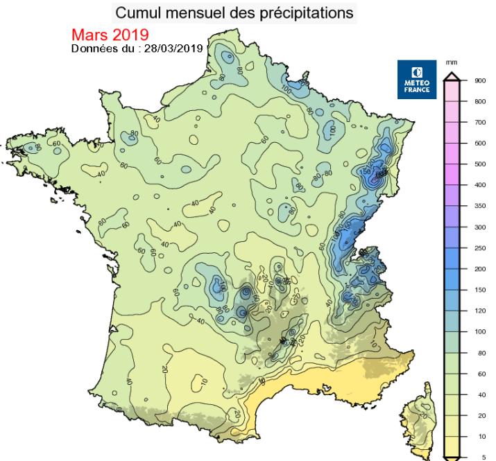 Image d'illustration pour Bilan météo détaillé de mars 2019 sur 33 villes