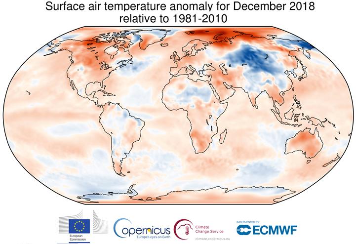 Image d'illustration pour Décembre 2018 plus chaud que la normale dans le Monde