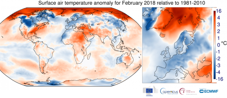 Image d'illustration pour Février 2018 froid en Europe mais doux dans le Monde