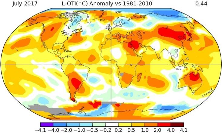 Image d'illustration pour Juillet 2017 le plus chaud dans le Monde selon la NASA