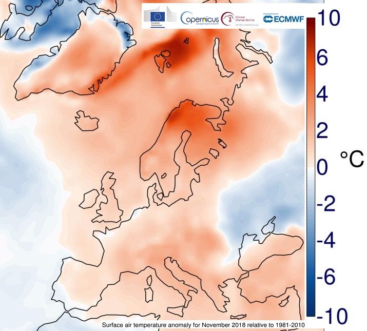 Image d'illustration pour Novembre 2018 plus chaud que la normale dans le Monde