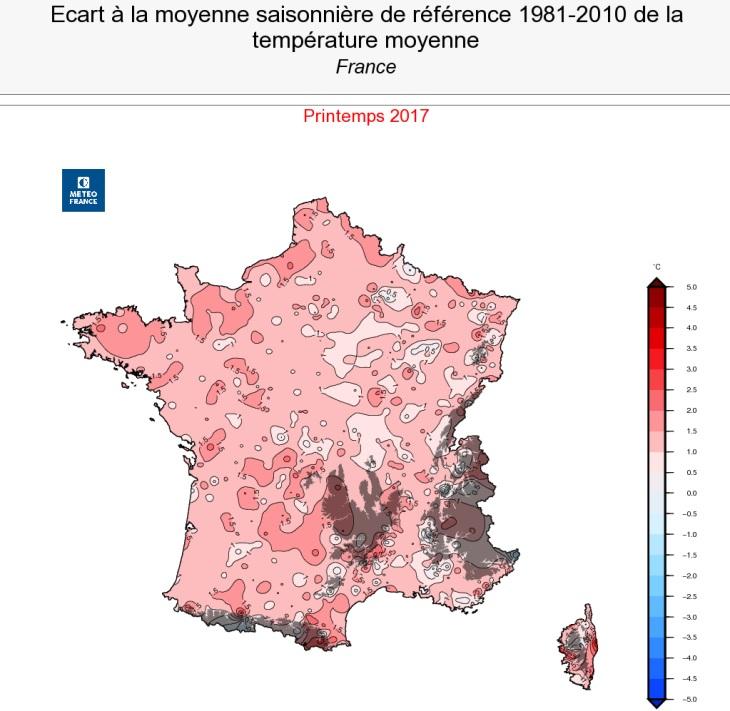 Image d'illustration pour Printemps 2017 : 3ème plus doux des mesures en France