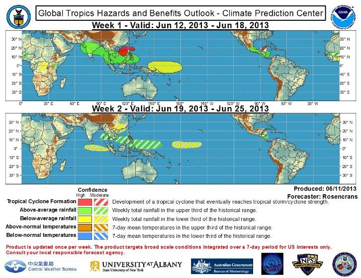 Image d'illustration pour Bulletin hebdomadaire de météorologie tropicale