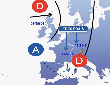 de l'air très frais descend sur l'Europe Occidentale