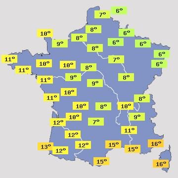 Température en France Aujourd'hui