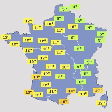 Température en France J+1