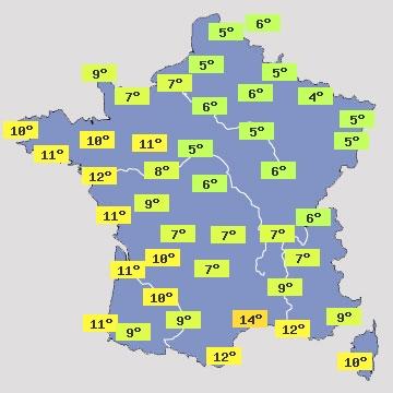 Température en France J+2