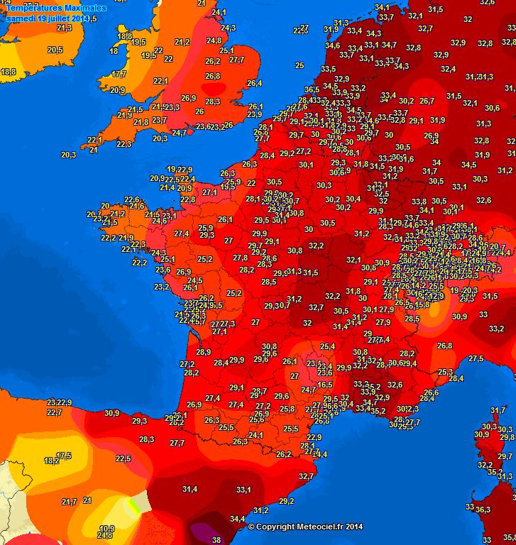 Image d'illustration pour Synthèse de l'épisode de forte chaleur du 17 au 19 juillet