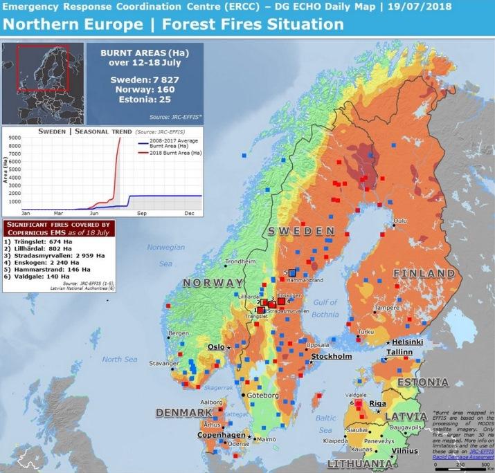 Image d'illustration pour Chaleur exceptionnelle, sécheresse et incendies en Scandinavie