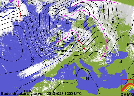 Image d'illustration pour Passage de la tempête Christian sur le Nord de l'Europe le 28 octobre 2013