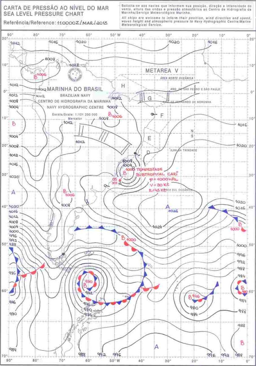 Image d'illustration pour Remarquable : 2 tempêtes subtropicales sur l'Atlantique Sud - Bapo et Cari