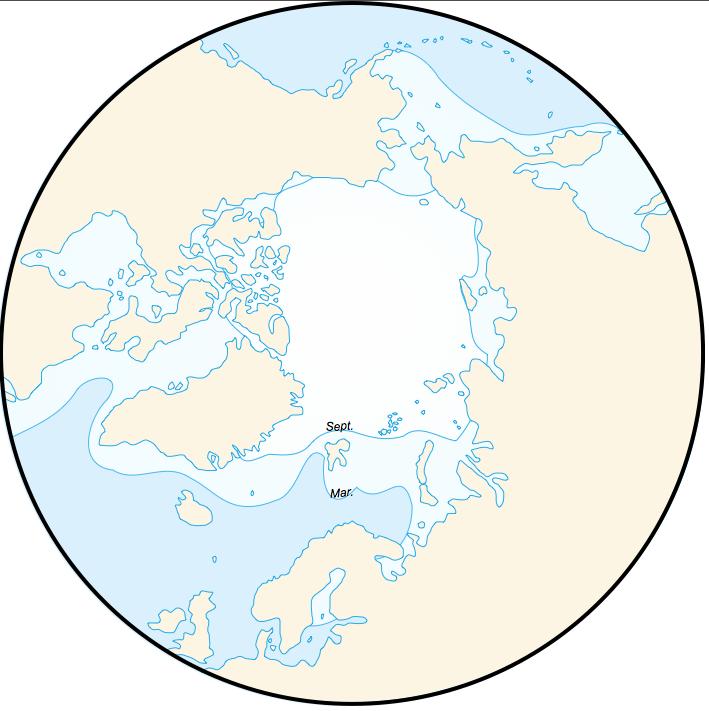 Extensions moyennes de la banquise arctique (hiver et été)
