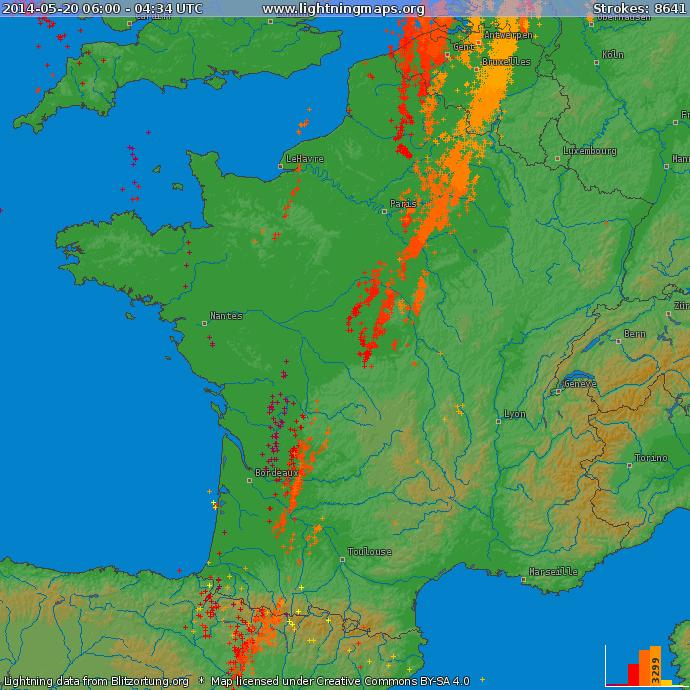 Image d'illustration pour Synthèse des orages du 19 au 23 mai - pluie, rafale, grêle, tornade et foudre