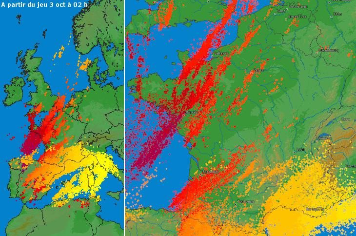 Image d'illustration pour Nombreux orages en France (Normandie - Sud Ouest - Sud Est)